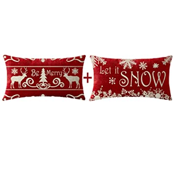 Set of 2 deer christmas pillows