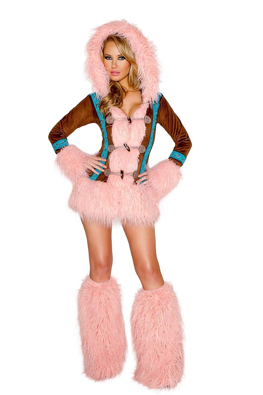Amazon.com: Mujeres Sexy rosa Mohair disfraz de esquimal ...