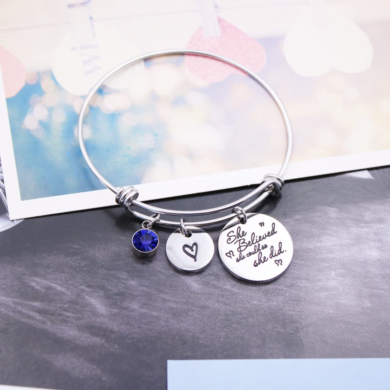 DYbaby She Believed She Could So She Did Birthstone Bracelet Expandable Heart Pendant Bracelet Inspirational Birthday Gift for Her