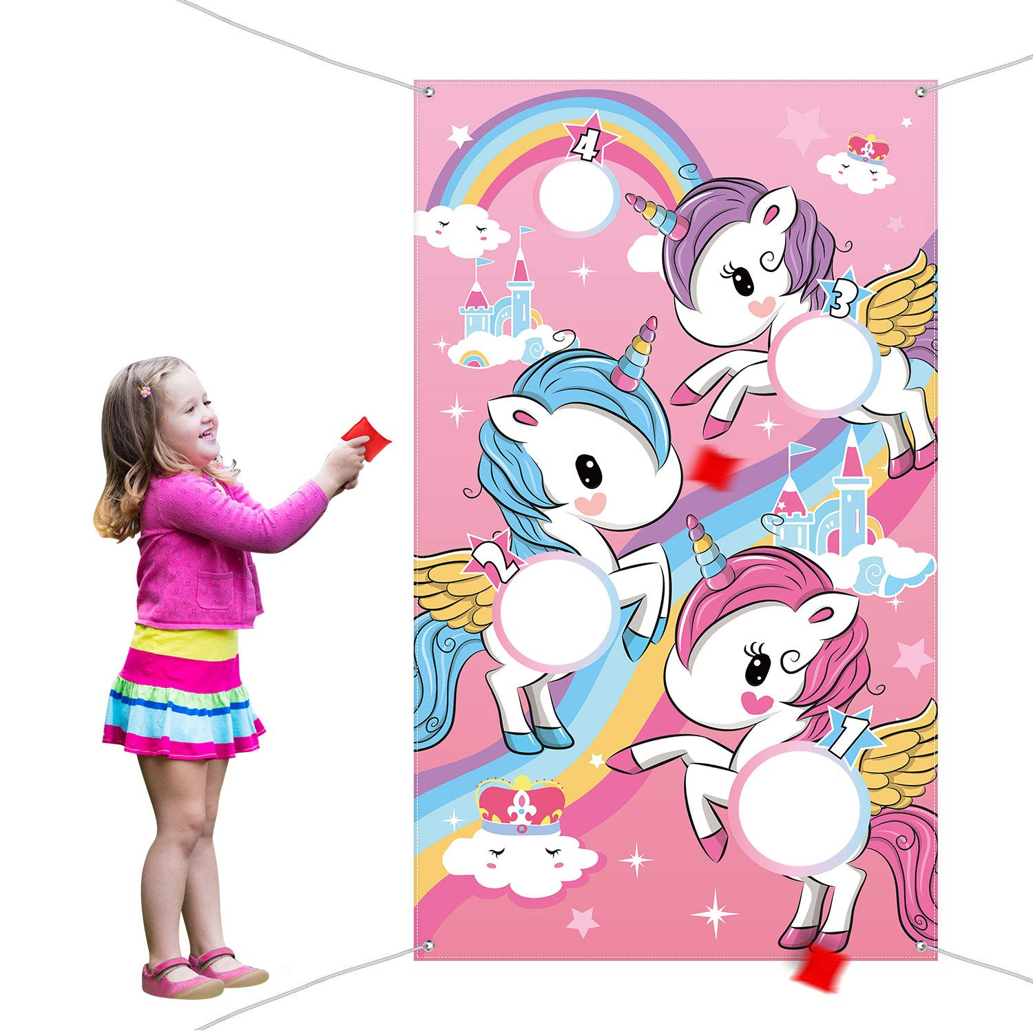Unicorn Toss Game with 3 Pieces Nylon Bean Bag for Children Adult Unicorn Theme Party Decorations and Supplies by Blulu
