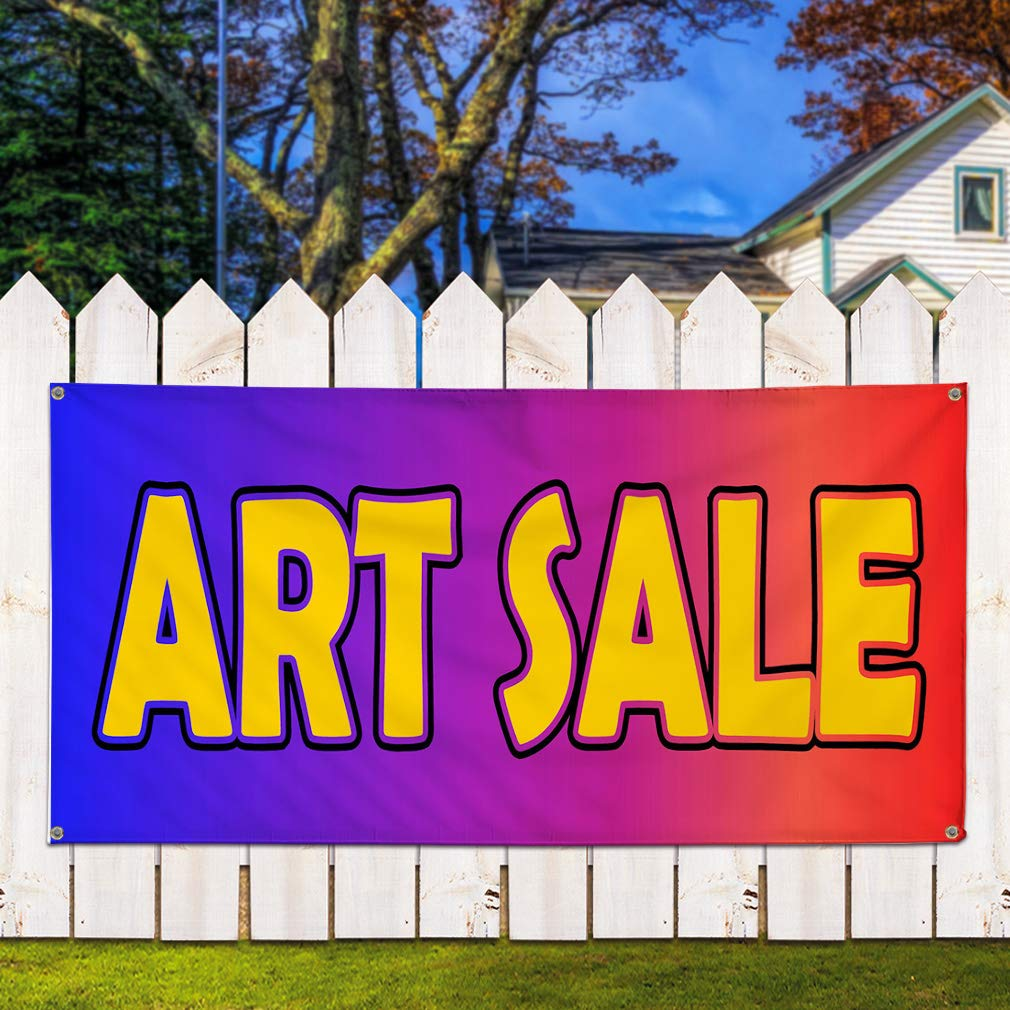 48inx96in One Banner Multiple Sizes Available Vinyl Banner Sign Art Sale Blue Yellow Red Business Sale Marketing Advertising Yellow 8 Grommets