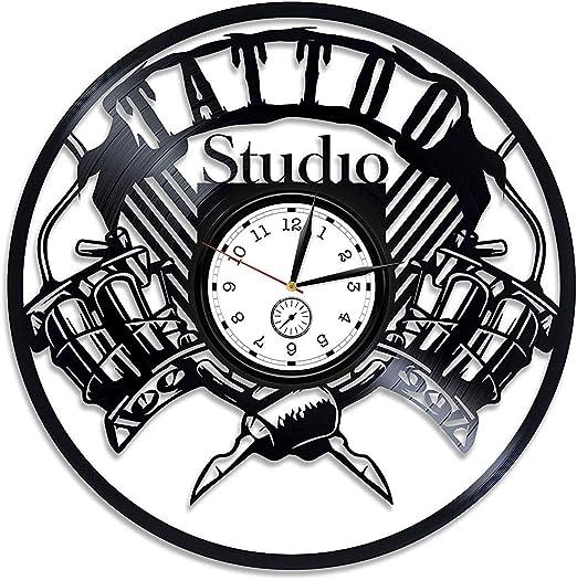 Ollmp Disco de Vinilo del Tatuaje Reloj de Pared Reloj de Vinilo ...