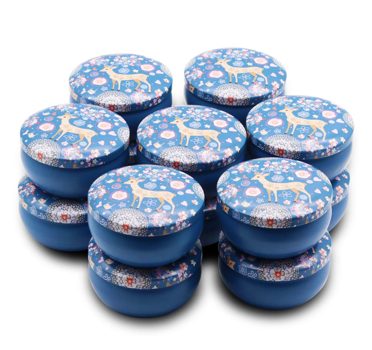 JulWhisper Candle Making Supplies - 4-Ounce Candle Tins 14 Piece with Lids for Candle Making, Dreamy Deer Metal Tin Jar for Party Favors, Sweets, Spices, Gifts