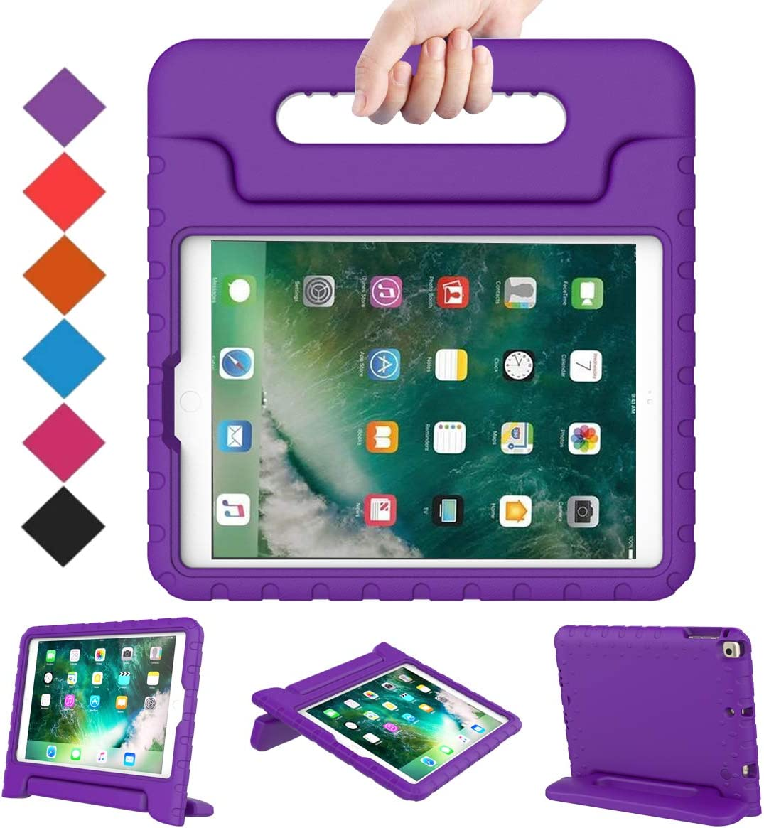 BMOUO Case for New iPad 9.7 Inch 2018/2017 - Shockproof Case Light Weight Kids Case Cover Handle Stand Case for iPad 9.7 Inch 2017/2018 Previous Model - Purple
