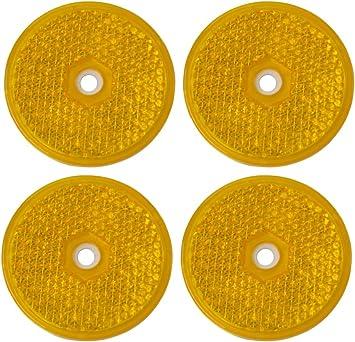 AERZETIX: 4 x Catadioptrico adhesivo redondo naranja 61mm para ...
