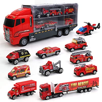 10 in 1 Fire Engine Vehicle Truck Toy Set,Die-cast Mini Plastic Fire Play Vehicle in Carrier Car Toy Set for Kids Boys and Girls: Toys & Games