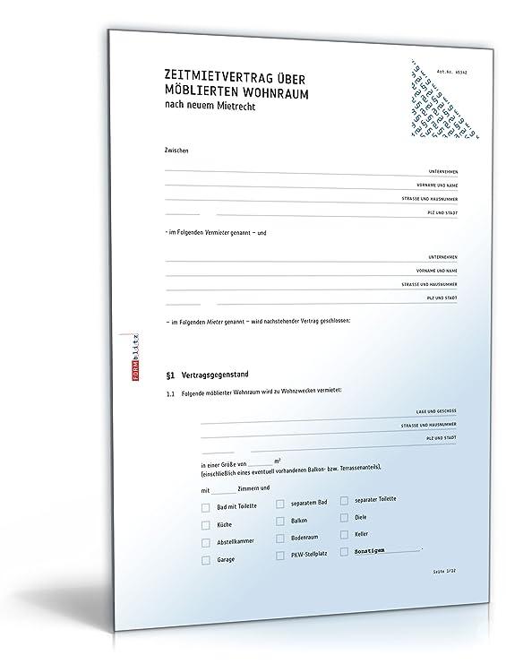 Befristeter Mietvertrag Möblierte Wohnung Doc Download Amazon