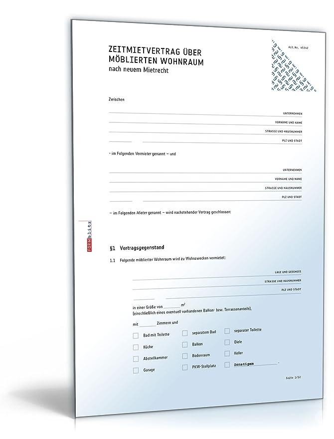 Befristeter Mietvertrag möblierte Wohnung (DOC) [Download]: Amazon ...