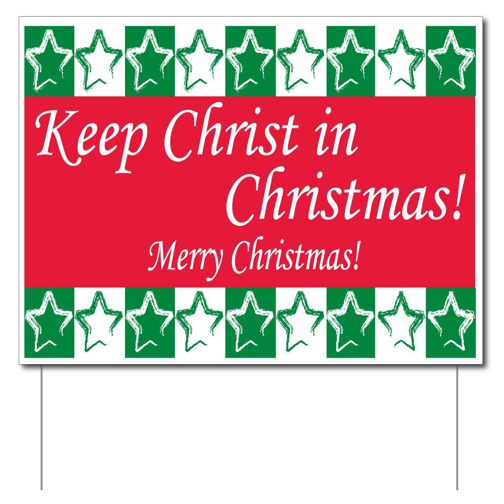 Amazon.com: Keep Christ in Christmas Yard Sign (Green and Red) - Set ...