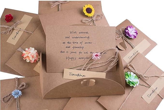 Carte de Voeux les Invitations les Cartes de V/œux et les Cartes de No/ël cartes Joyeux No/ël avec enveloppes et autocollants pour les Enveloppes de Thanksgiving R/étro Kraft Fait /à La Main