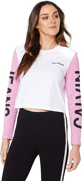 Calvin Klein - Camiseta de mujer, manga larga, cuello redondo, Maxi Logo, algodón, blanco Bianco L: Amazon.es: Ropa y accesorios