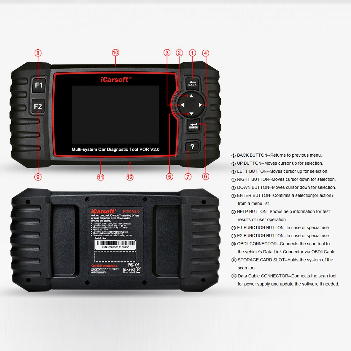 iCarsoft Auto Diagnostic Scanner POR V2.0 for Porsche with ABS Scan,Oil Service Reset ect by iCarsoft (Image #7)