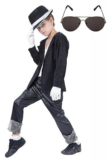 9622bc47f1191 Amazon.com  Michael Jackson Black Fancy Dress Costume Hat   Glasses ...