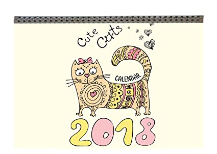 Wolga creativos – Calendario de pared 2018 Gatos para colorear