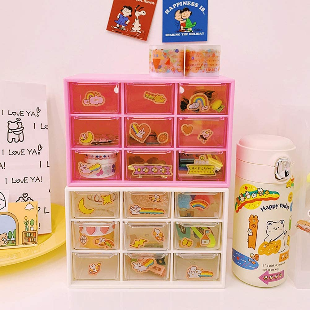 FairOnly Multi-Grid Storage Box Drawer Organization Transparent Jewelry Sta-tionery Container Light Pink Convenient