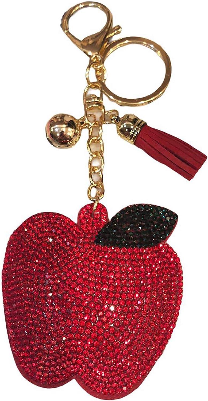 Bling Avocado Keychain Wine Glass Backpack Charms Rhinestone Pineapple Crystal Bag Charm Food Keyring