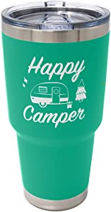Dock N Stow Happy Camper Stainless Steel Tumbler with Vacuum Insulated Double Wall, Splash Proof Sliding Lid Great for Hot or Cold Drinks, Outdoor Camping Travel Cup RV Gifts 30 OZ Seafoam
