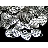 50 x MADE WITH LOVE Tibetan Silver Heart Charm Pendants - Valentine's Day Antique Silver Jewellery Making Beading Crafting Findings