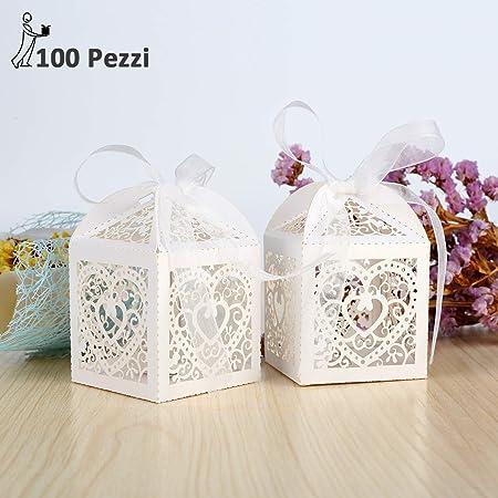 Bomboniere Semplici Per Matrimonio.Ghb 100 X Carta Scatole Bomboniera Scatoline Per Confetti