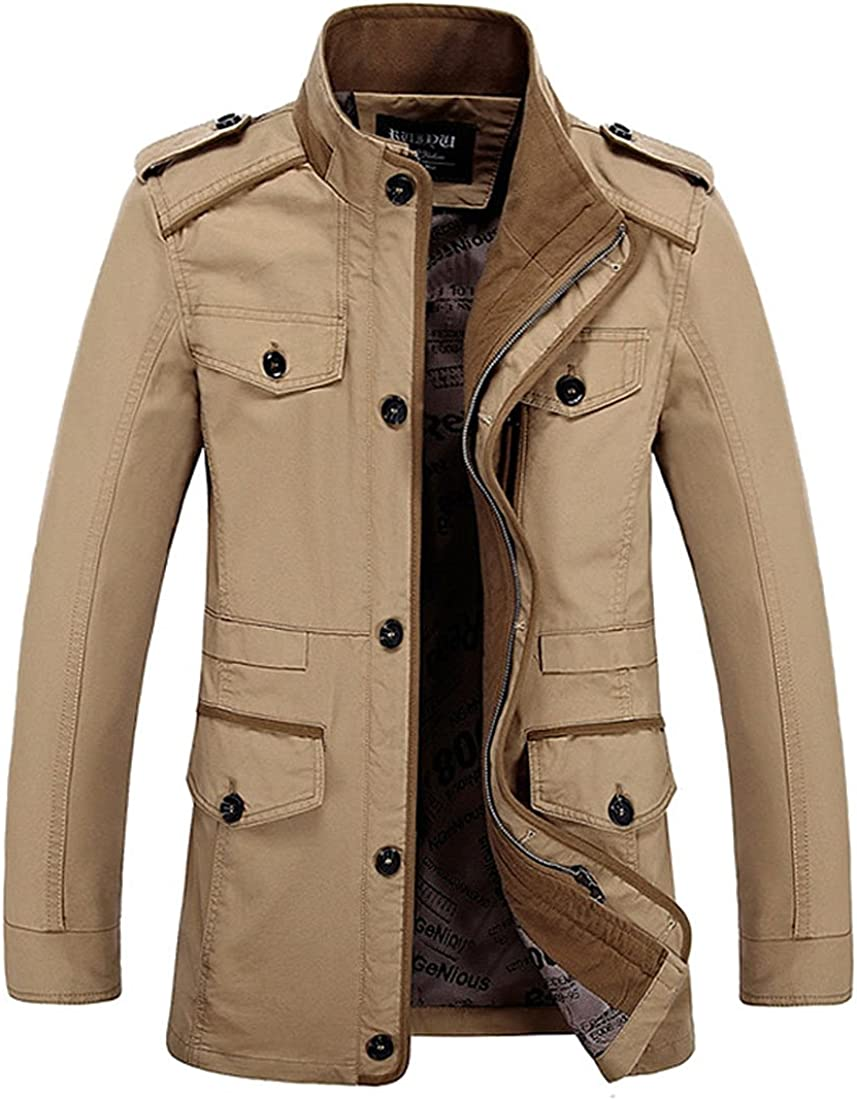 Hot Men/'s Jackets Military Cotton Jacket Coat Stand Collar Jackets Outwear Slim