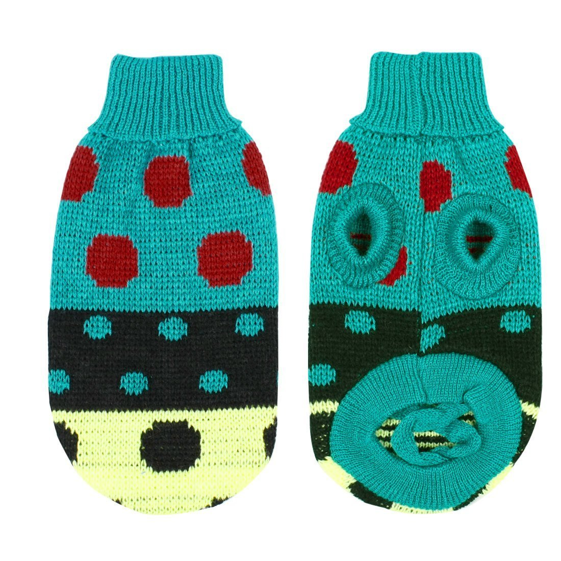 Turtleneck Polka Dot Knit Dog Shih Tzu Sweater Clothes Apparel Size M Teal
