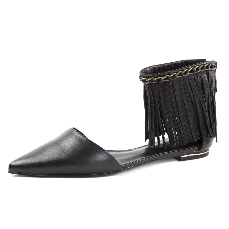 Rebecca Minkoff Women's Faith Leather Fringe Flats US 8.5 Black