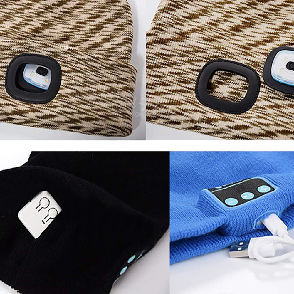 noir Harddo Bonnet en tricot avec lumi/ère LED Bluetooth pour homme femme randonn/ée