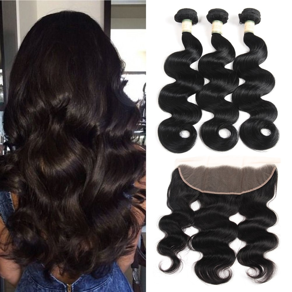 Morichy 7a Peruvian Body Wave 3 Bundles with Frontal Ear to Ear Lace Frontal Closure with Bundles Peruvian Virgin Hair with Closure Human Hair Extensions Lace Frontal with Baby Hair (16 18 20+14)