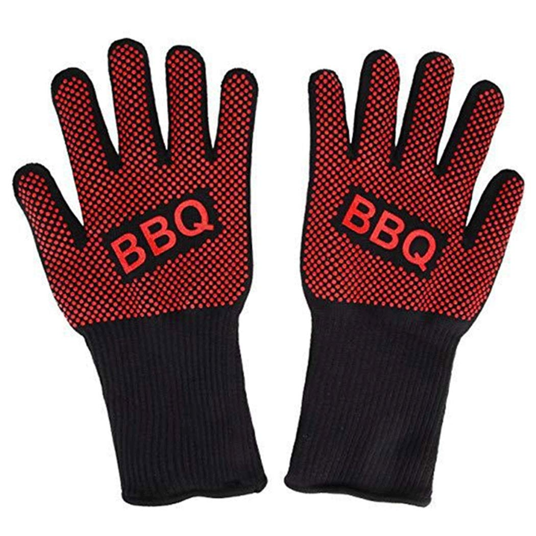 Oven Gloves (800°C) Silicone Heat Resistant Cooking Gloves For Kitchen Baking Fireplace Grilling (1 Pair) Red (Color : Red, Size : 33cm)