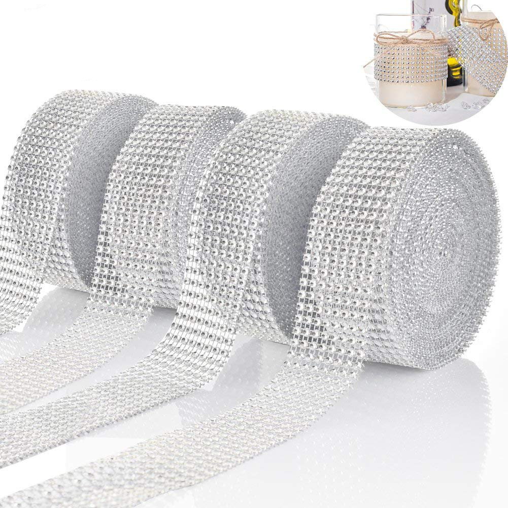 40 Yards Silver Rhinestone Ribbon, Diamond Rhinestone Mesh Ribbon Bling Sparkle Wrap DIY Roll for Wedding Cake, Birthday, Baby Shower, Arts & Crafts Projects, Event Party Supplies (4 Roll) Shallylu 4337037618