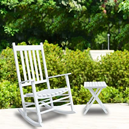 Etonnant Coismo Outdoor Solid Wood Rocking Chair Porch Rocker With Side Table,White