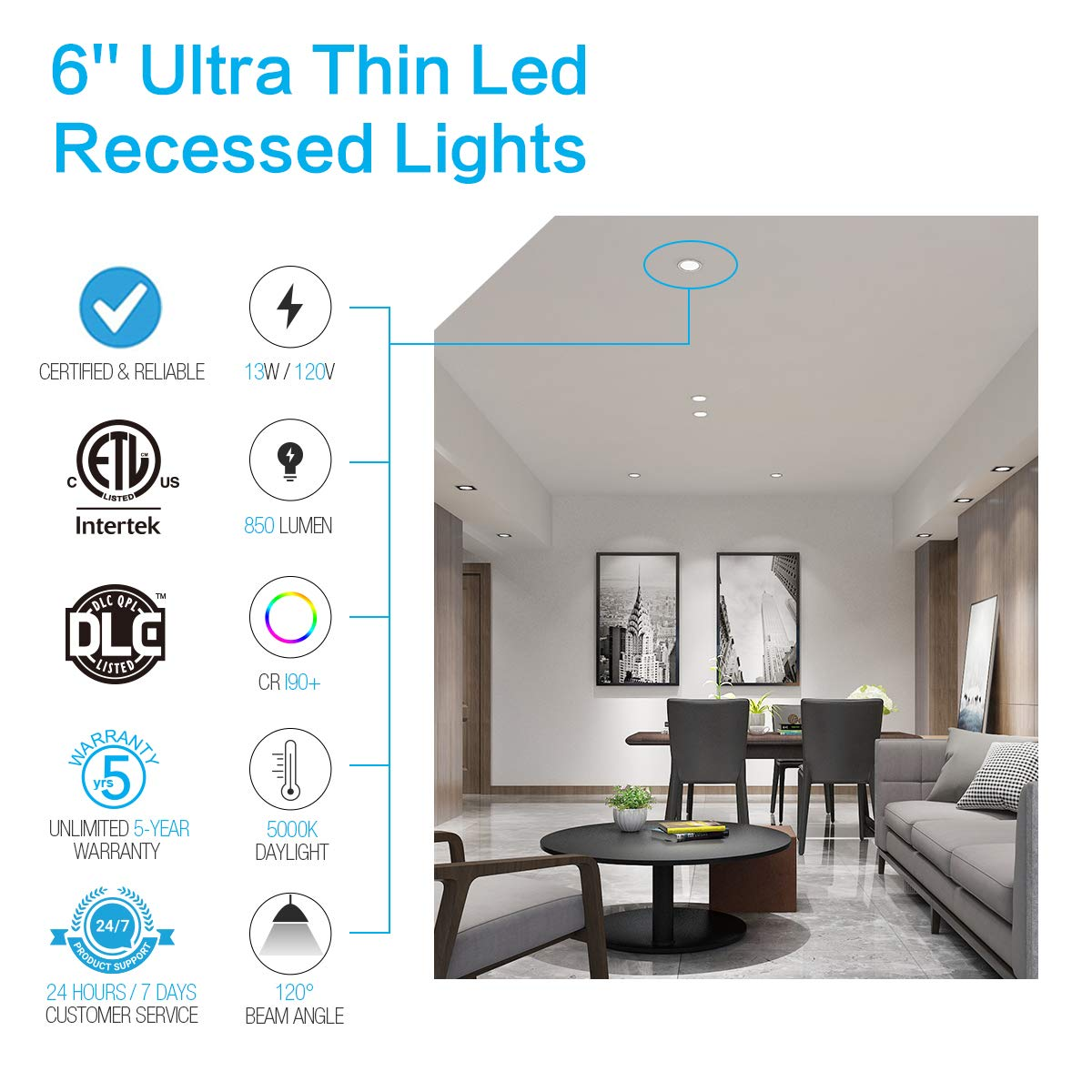 JJC 13W 6 Inch Ultra Thin Led Recessed Lighting with Junction Box,5000K Daylight White, CRI90+, IC Rated,850 Lumens 65W Eqv. Dimmable Led Downlight ETL and Energy Star Certified- Pack of 12