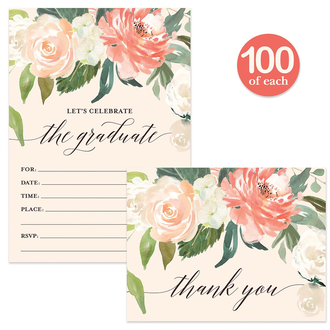 Graduation Party Invites ( 100 ) & Matched Thank You Notes ( 100 ) Set with Envelopes High School College University Graduate Fill-in-Style Guest Invitations & Folded Thank You Cards Best Value Pair
