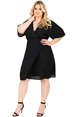 f50143cbfc6 Standards   Practices Plus Size Modern Women Black V-Neck Kimono Wrap Midi Dress  Size
