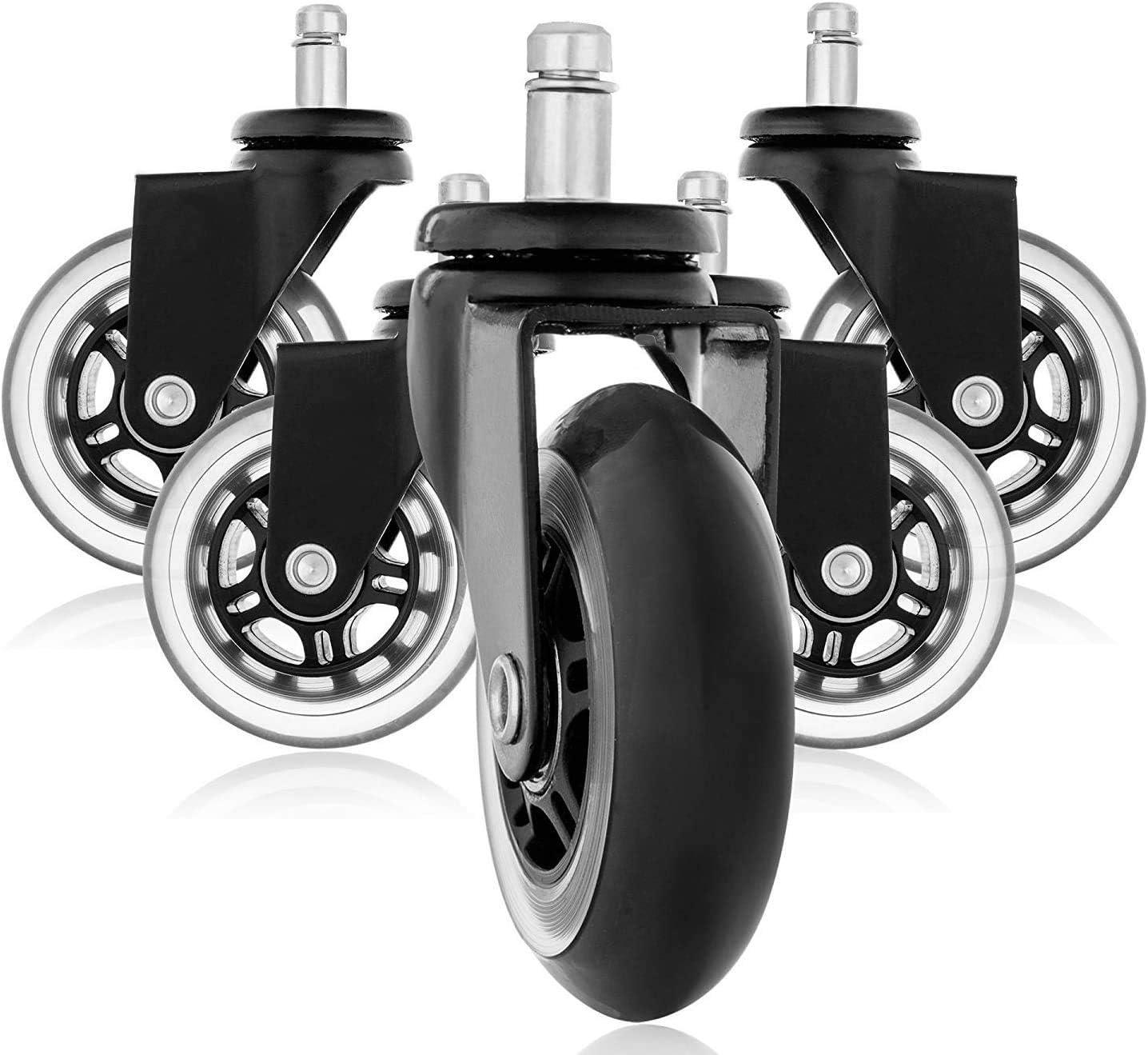 Copapa Lot de 5 roulettes de protection de sol en caoutchouc pour chaise de bureau M10 x 12 mm Noir
