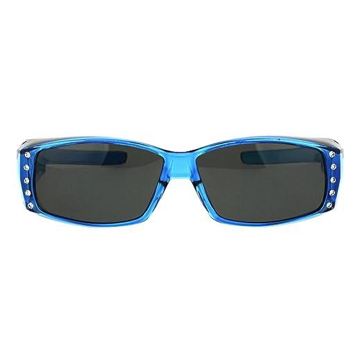 c7d393a5b Womens Rhinestone Jewel Polarized 60mm Fit Over Rectangular Sunglasses Blue
