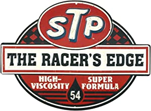 Open Road Brands STP The Racer's Edge Vintage Tin Metal Wall Art - an Officially Licensed Product Great Addition to Add What You Love to Your Home/Garage Decor