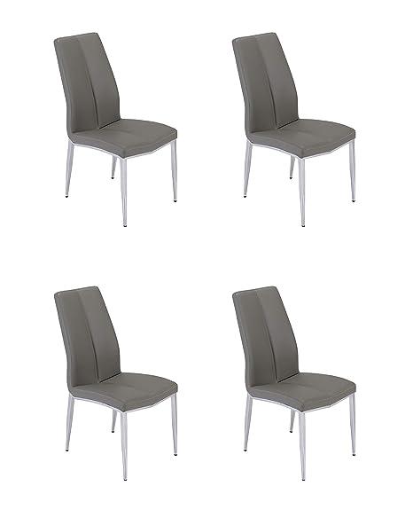 Marvelous Amazon Com Milan Adella Sc Gry Adella Faux Leather Side Creativecarmelina Interior Chair Design Creativecarmelinacom
