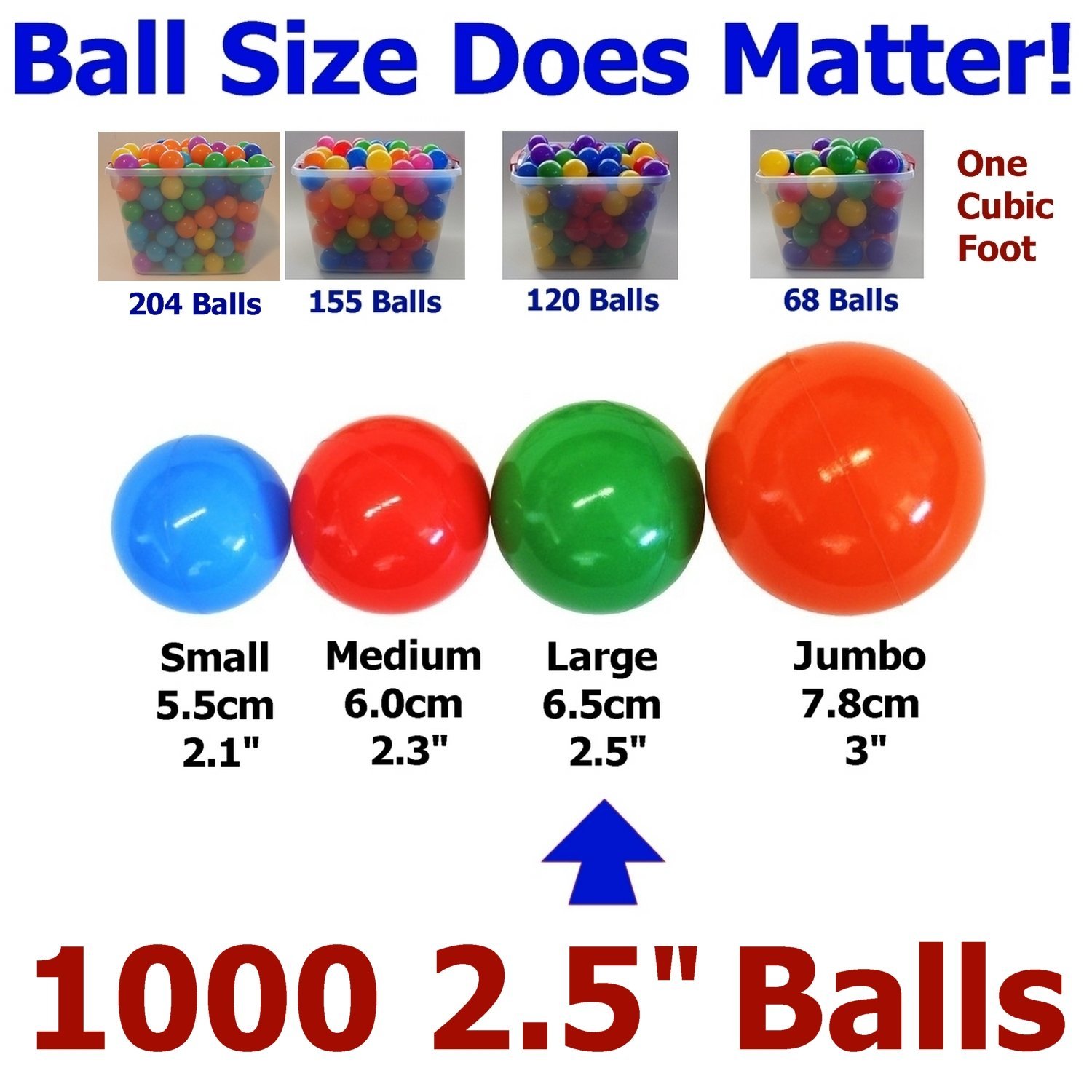 My Balls Pack of 1000 pcs 2.5'' True to Size Balls Phthalate Free BPA Free Crush Proof Plastic Balls in 5 Bright Colors by My Balls (Image #2)