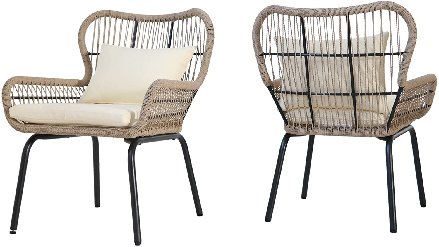 Christopher Knight Home Kimberley Outdoor Club Chairs, Steel and Rope, Cushioned, Boho, Dark Gray, Brown, Beige
