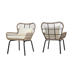 Christopher Knight Home 307508 Karen Outdoor Club Chairs, Steel and Rope, Water-Resistant Cushions, Boho, Brown and Beige (Set of 2)