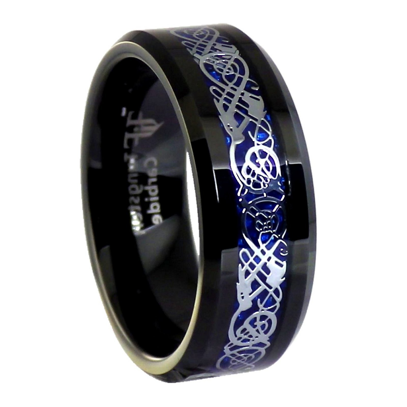 Fantasy Forge Jewelry Blue Carbon Fiber Celtic Dragon Black Tungsten Ring Size 7 by Fantasy Forge Jewelry (Image #2)