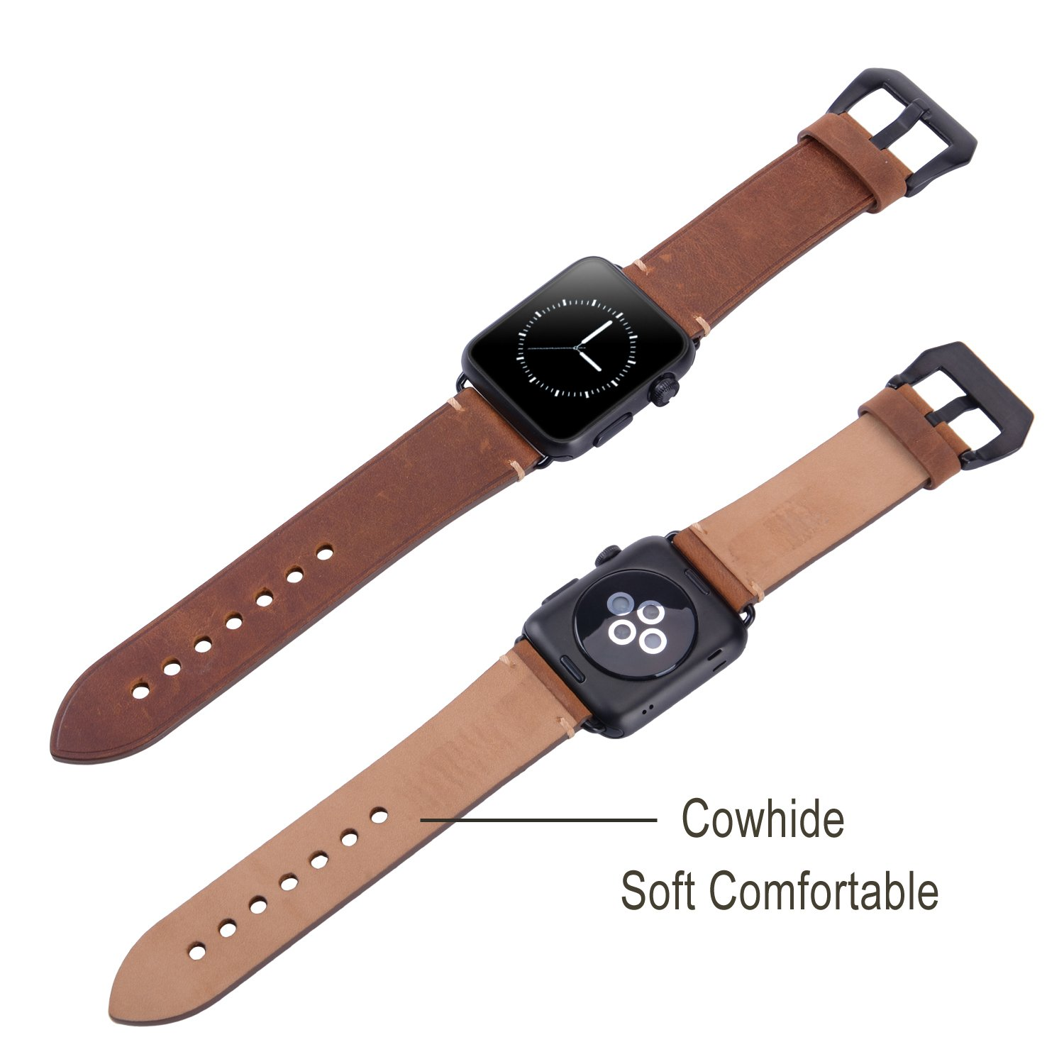 For 42mm Apple Watch Band, Genuine Leather iWatch Strap with Black Metal Clasp Buckle for Apple Watch Series 3 Series 2 Series 1 Sport Edition (42mm Dark Brown) by AMMZO (Image #7)