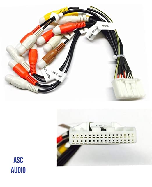 asc car stereo rca audio video wire harness plug for select pioneer /  premier 32 pin
