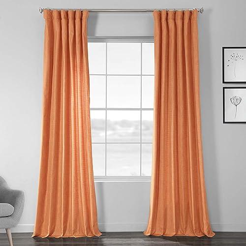HPD Half Price Drapes SSCS-180706-108 Designer Shantung Faux Silk Curtain 1 Panel , 50 X 108, Monarch Orange