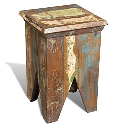 SKB Family Reclaimed Wood Stool Hocker Antique Chair Vintage and Mid  Century Seat - Amazon.com: SKB Family Reclaimed Wood Stool Hocker Antique Chair