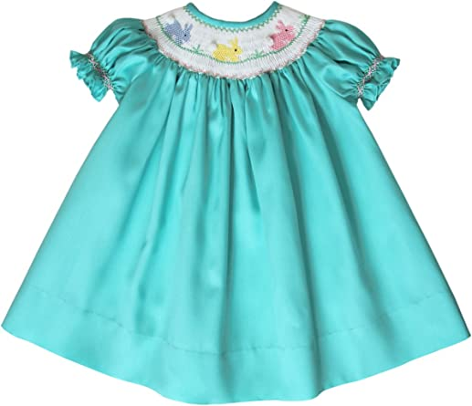 Girls Easter Dress Embroidered Teal Girls Easter Bunny Dress Toddler Easter Bunny Dress Double Ruffle Dress Toddlers Easter Dress