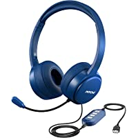 Mpow USB Office Headset/ 3.5mm Computer Headset with Microphone Noise Cancelling , Lightweight PC Headset Wired Headphones, Business Headset for Skype, Webinar, Phone, Call Center(Blue)