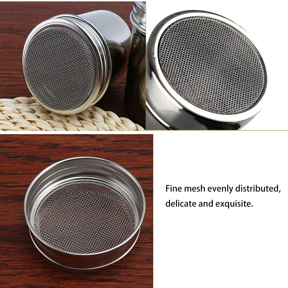 Ristorante Junzheng 2 Pezzi Acciaio Inossidabile in Polvere Shakers,Tappo con Fori Dosatori,2 Pezzi Caff/è Art Pen e 16 Pezzi Stampa Stampi Stencil,per Cottura,Casa