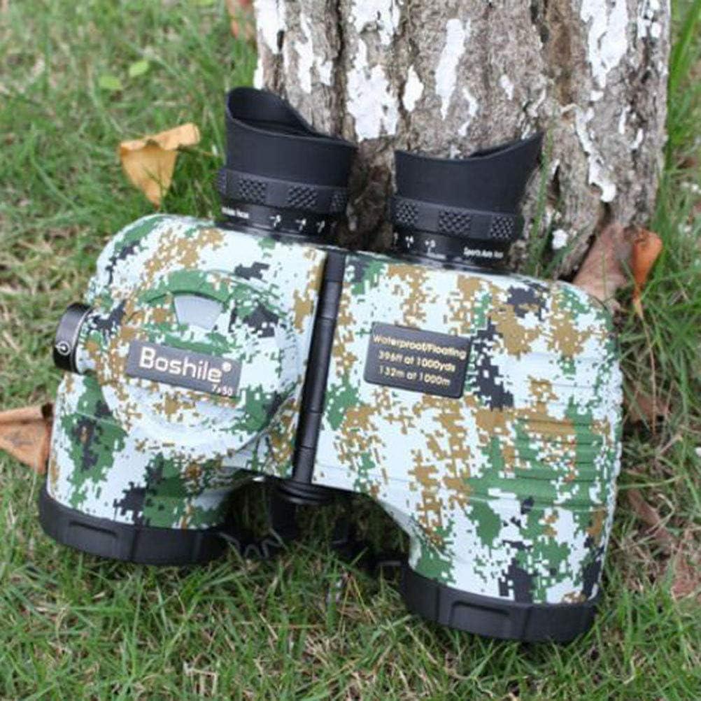 Boshile 7x50 Prismaticos Profesionales con telémetro para Adultos, visión Nocturna compacta Binoculares a Prueba de Agua, para observación de Aves, Viajes,Náutica,Camouflage